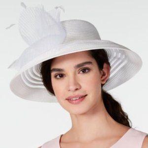 August Hats Sheer Stripe Romantic Hat White